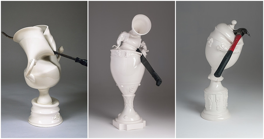 15 Vas porselen ini rusak akibat benda tumpul, bentuknya jadi unik
