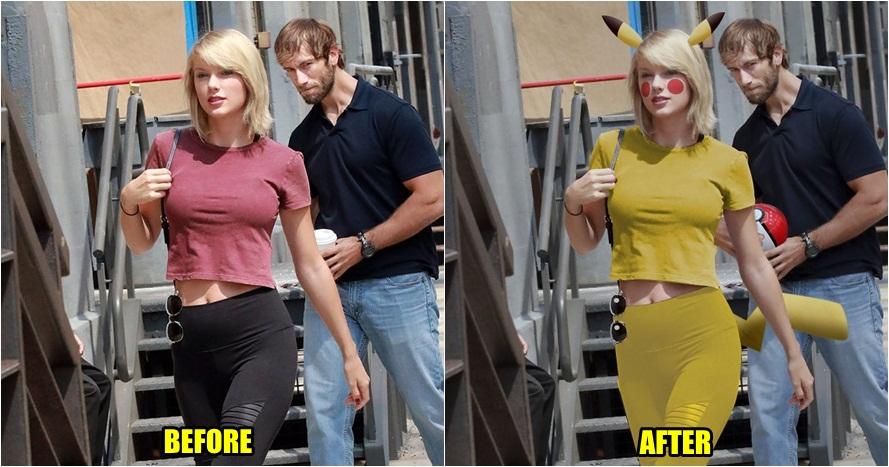 15 Editan foto Taylor Swift yang dibuntuti pria asing ini lucu banget