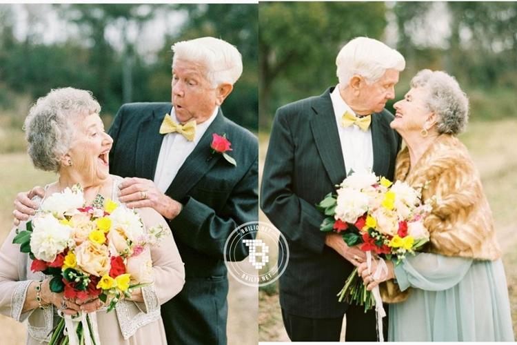 63 Tahun menikah, pasangan ini berfoto layaknya pengantin baru