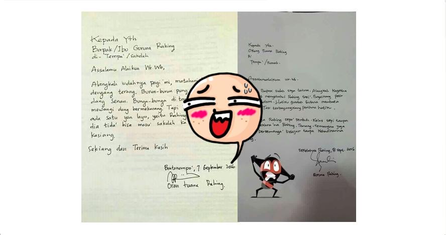 Surat izin tidak masuk sekolah & balasan guru ini penuh kata puitis