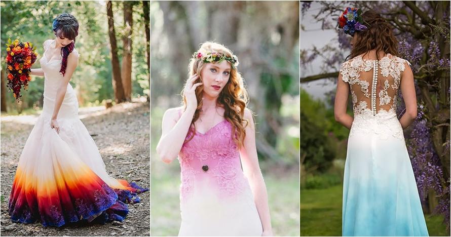 13 Gaun pengantin tie dye ini beri nuansa penuh warna di hari bahagia