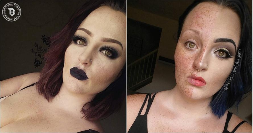 Berkat makeup, bintik hitam di wajah wanita ini musnah tak berbekas