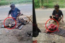 Cara pria ini bersihkan kepala dan kaki kambing kurban unik banget