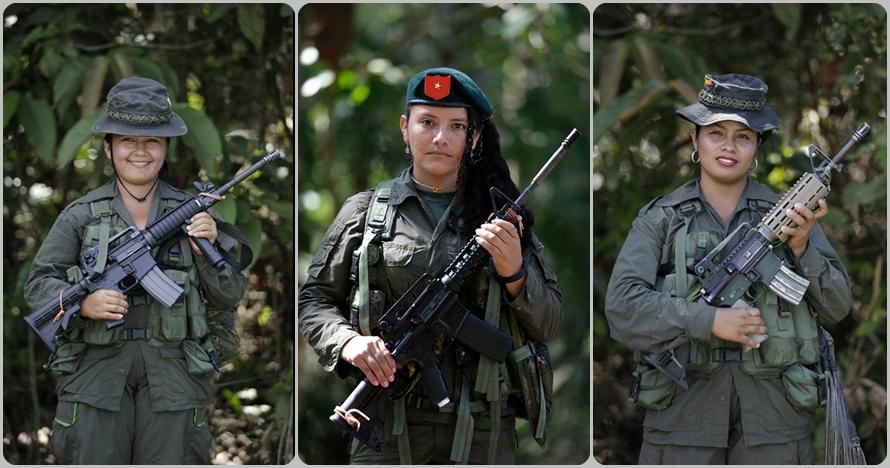 Pakai lipstik & bawa senjata, ini 10 foto pemberontak wanita Kolombia