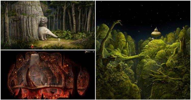 10 Ilustrasi kehidupan di 9 planet asing dalam game Samorost 3, keren