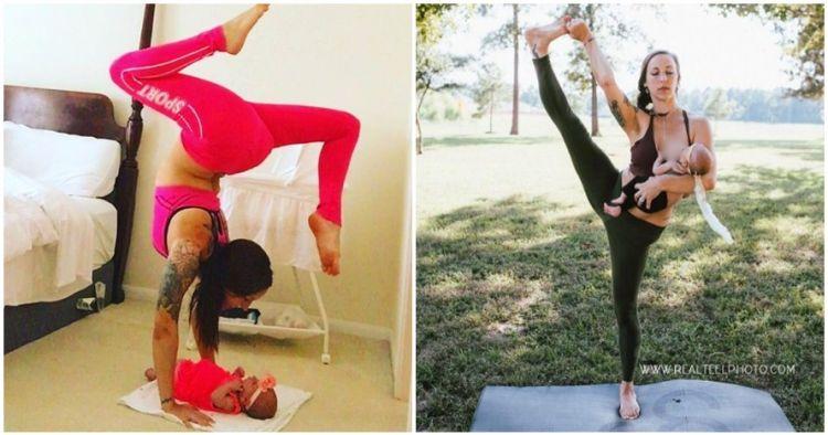 10 Foto yoga sambil mengasuh anak, tak ada alasan malas olahraga