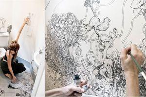 Diberi sentuhan seni pada dinding, toilet menjadi indah begini
