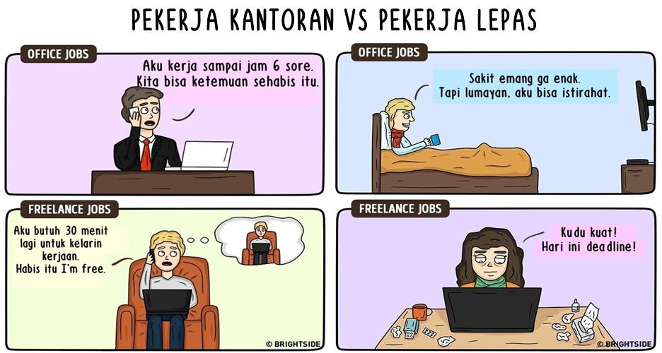 15 Ilustrasi perbedaan pekerja kantoran vs lepas, nampol abis