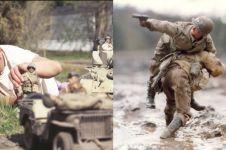 15 Foto adegan perang dengan karakter mini ini keren banget