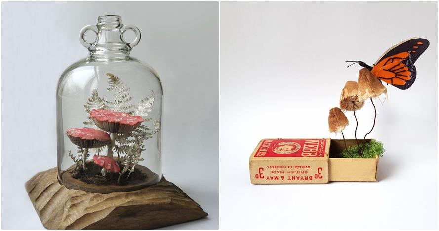Sampah kertas ini disulap jadi kerajinan bentuk jamur dan hewan, keren