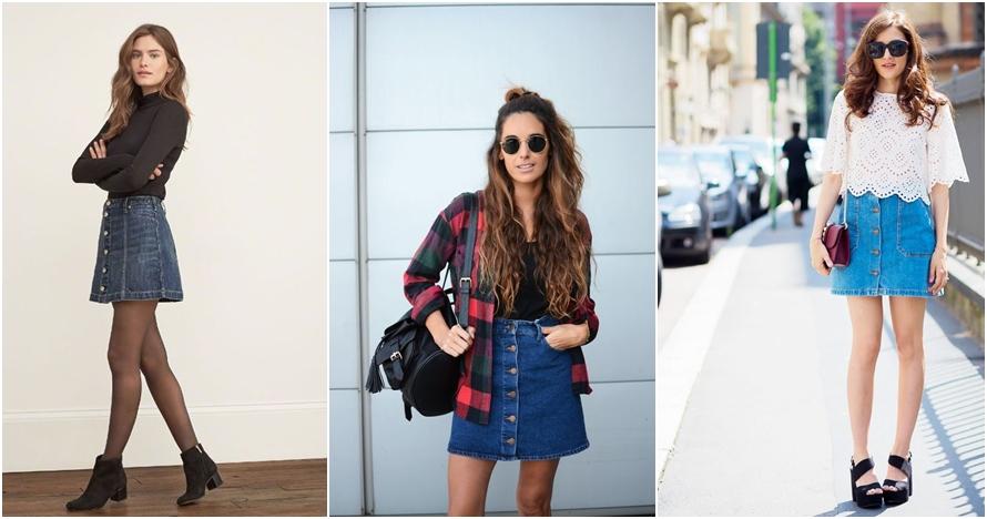 15 Inspirasi padu padan rok denim yang bisa bikin kamu terlihat modis