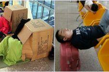 17 Pose orang tidur di bandara ini bikin geleng-geleng kepala