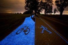 Jalur sepeda di Polandia ini dibuat berkilau, Indonesia kapan buat?