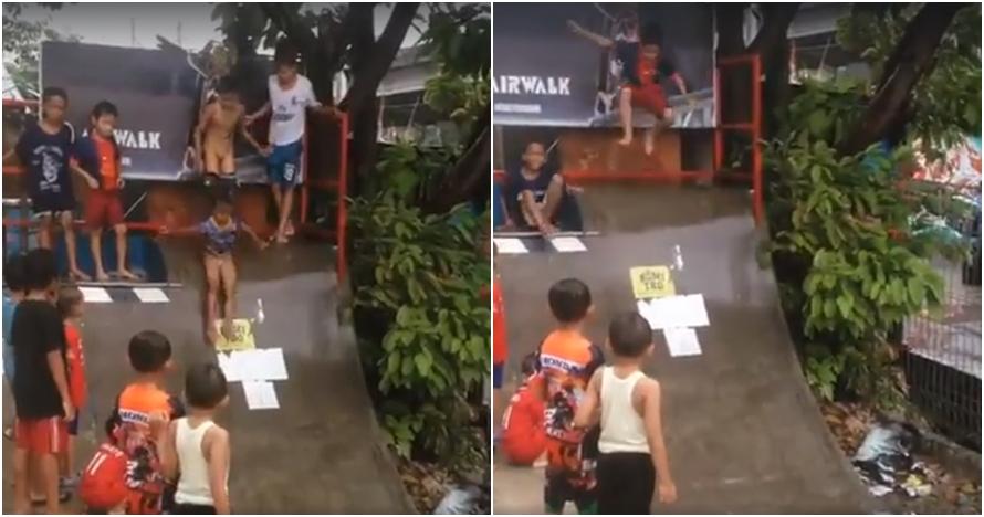 Aksi anak kecil main perosotan di jalur skateboard ini kocak abis