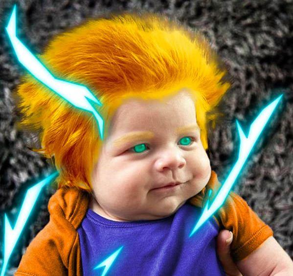 15 Foto editan bayi berambut lebat ini lucu banget