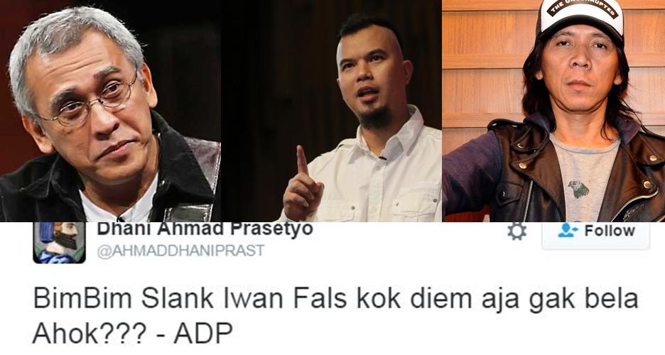Ahmad Dhani: Bimbim Slank & Iwan Fals kok diam aja, nggak bela Ahok?