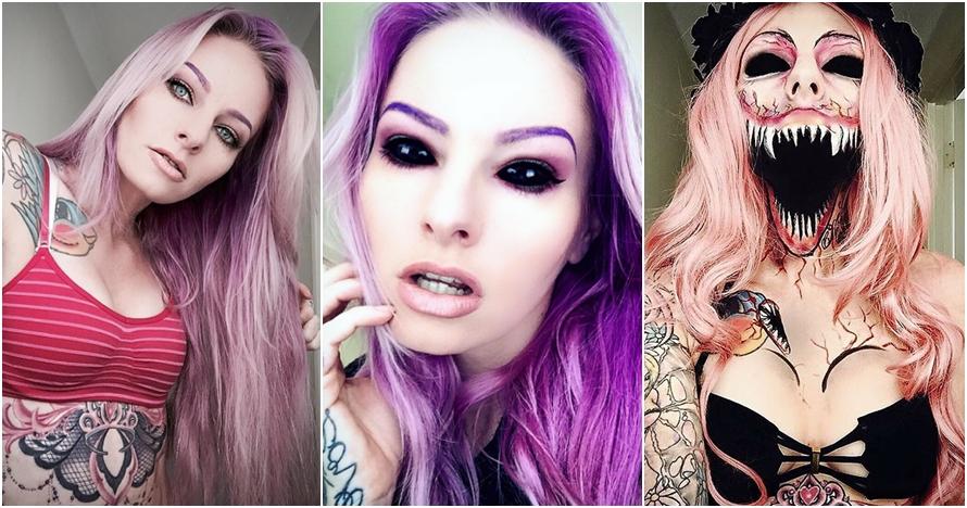 Berkat makeup, wajah wanita ini berubah mengerikan bak zombie