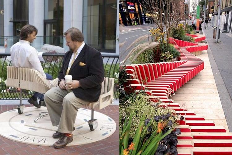 22 Desain kursi di taman kota ini keren, bikin betah duduk