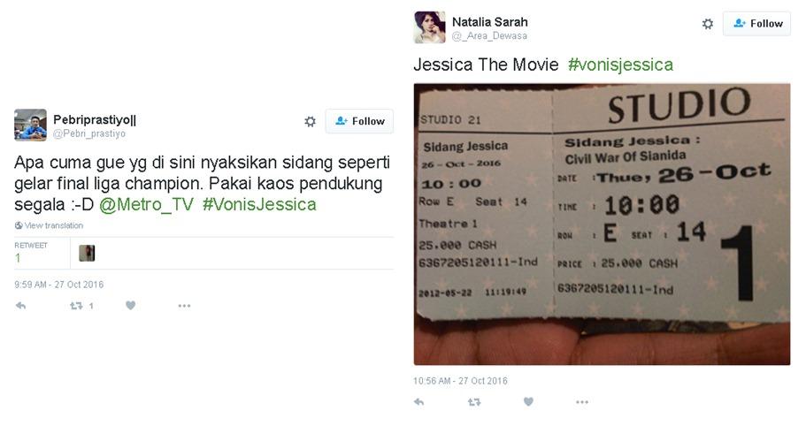20 Tweet 'nyeleneh' ini warnai sidang vonis kasus Jessica