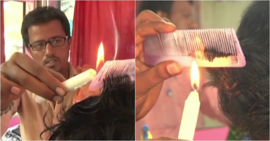 Gokil, tukang cukur ini pakai api lilin untuk memotong rambut