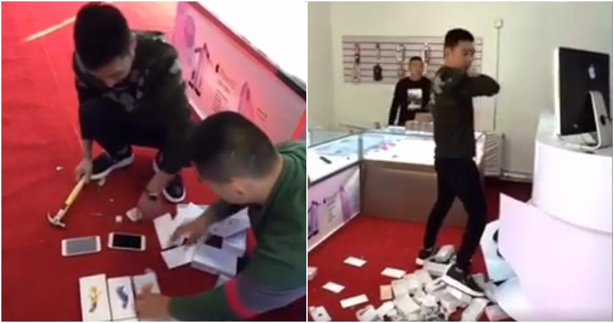 Dihina pemilik toko, pria ini borong 10 iPhone dan menghancurkannya