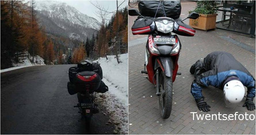 Nggak nyangka, bule ini mudik ke Belanda dari Bali naik sepeda motor