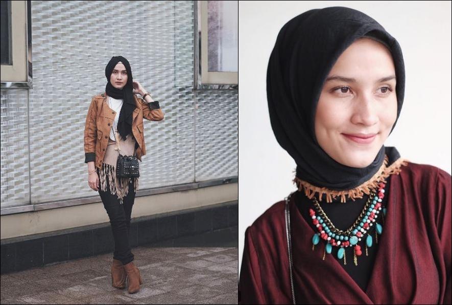 10 Inspirasi gaya hijab boho ala selebgram Dwi Handayani, berani coba?
