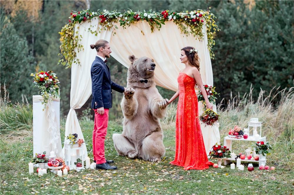 Pasangan pengantin ini undang seekor beruang jadi 'saksi' pernikahan
