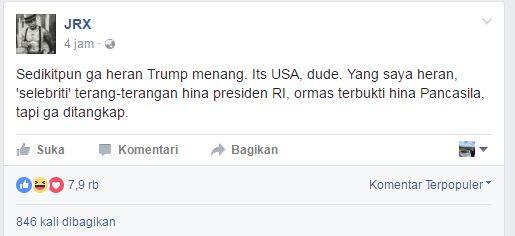 Jerinx: Seleb hina presiden, ormas hina Pancasila kok tak ditangkap?