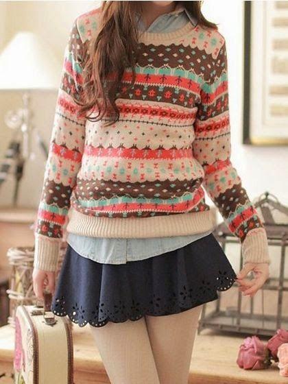 padu padan sweater dan rok © 2016 pinterest.com
