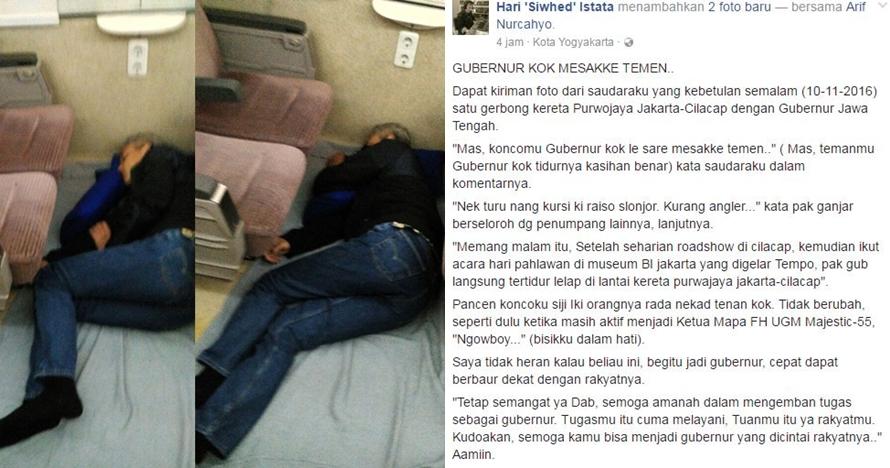 Aksi Ganjar Pranowo tidur di lantai kereta api ini bikin netizen heboh