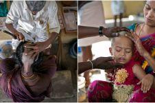 18 Foto wanita India rela gunduli kepala sebagai bentuk persembahan