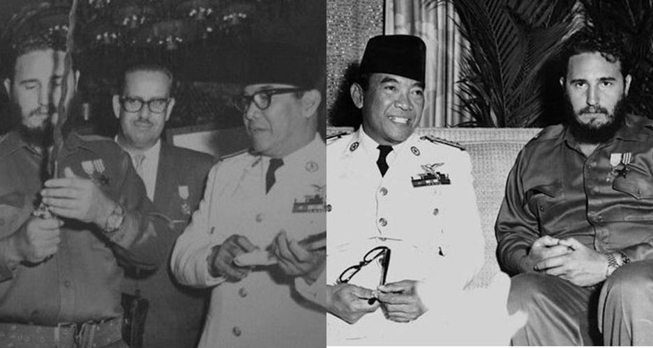 7 Foto kedekatan Fidel Castro dengan Soekarno, pernah dihadiahi keris