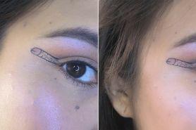 Nyeleneh abis, bentuk eyeliner buatan wanita ini jadi tren makeup unik