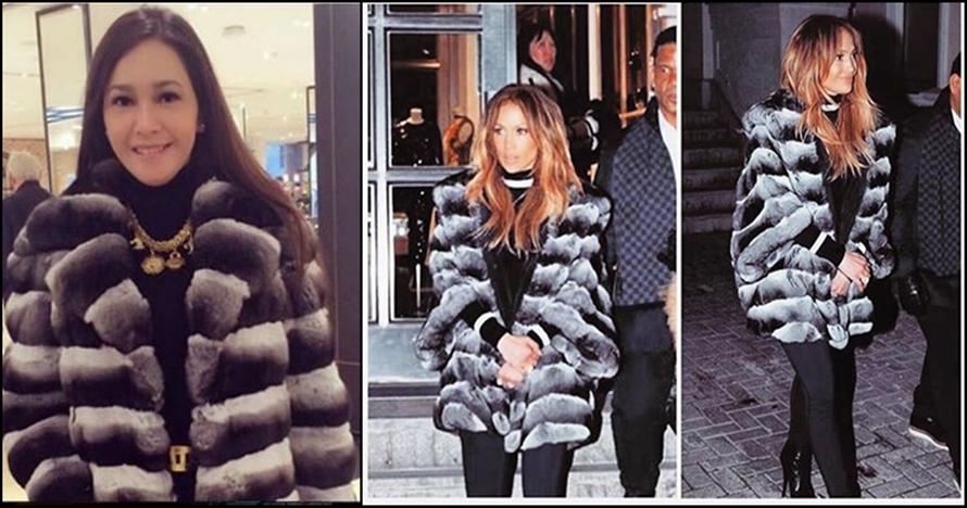 Ini harga mantel bulu Maia Estianty yang mirip punya Jennifer Lopez