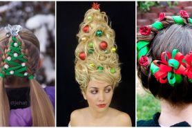15 Kreasi tatanan rambut ala pernak -pernik  Natal ini bisa kamu tiru