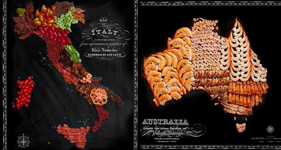 11 Peta negara ini dibuat dari bahan makanan khasnya, keren banget