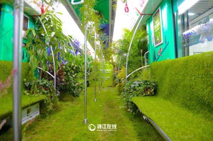 Kereta bawah tanah ini dipenuhi tanaman, asri banget lho