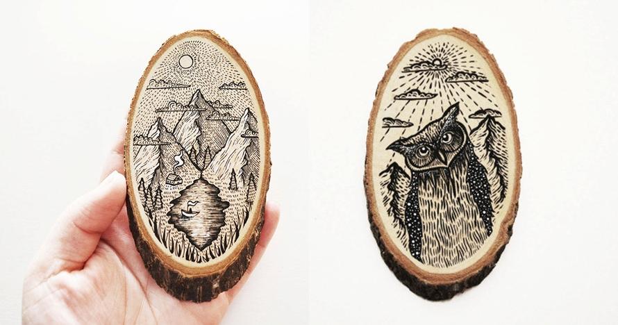 10 Ilustrasi keren ini dilukis pada potongan kayu, bikin melongo
