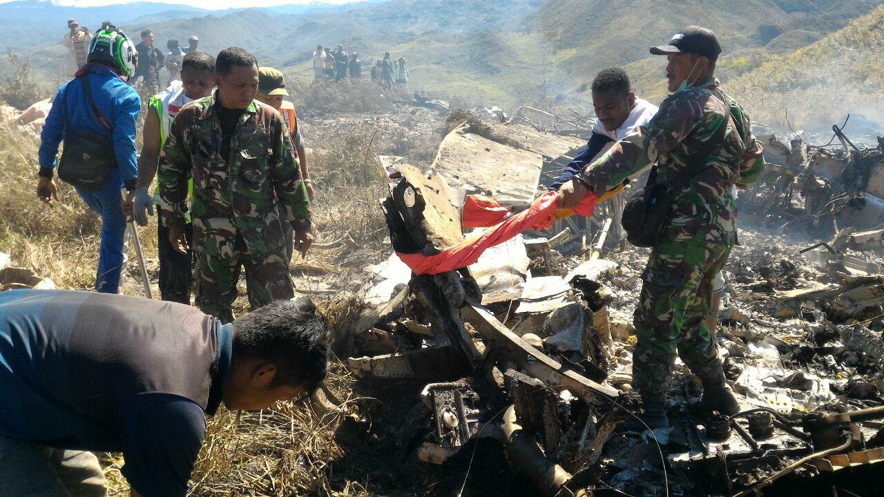 Begini 7 foto penampakan kondisi pesawat TNI AU saat ditemukan