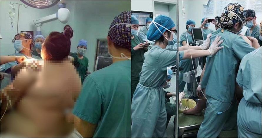 Foto perjuangan ibu dengan BB 127 kg saat melahirkan, bikin deg-degan