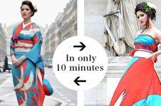 Desainer ini 'sulap' kimono jadi gaun pengantin yang unik dan memukau