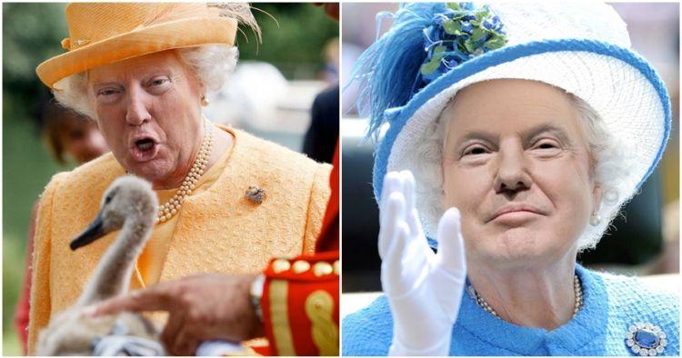 12 Foto editan wajah Trump di badan Ratu Inggris ini bikin melongo