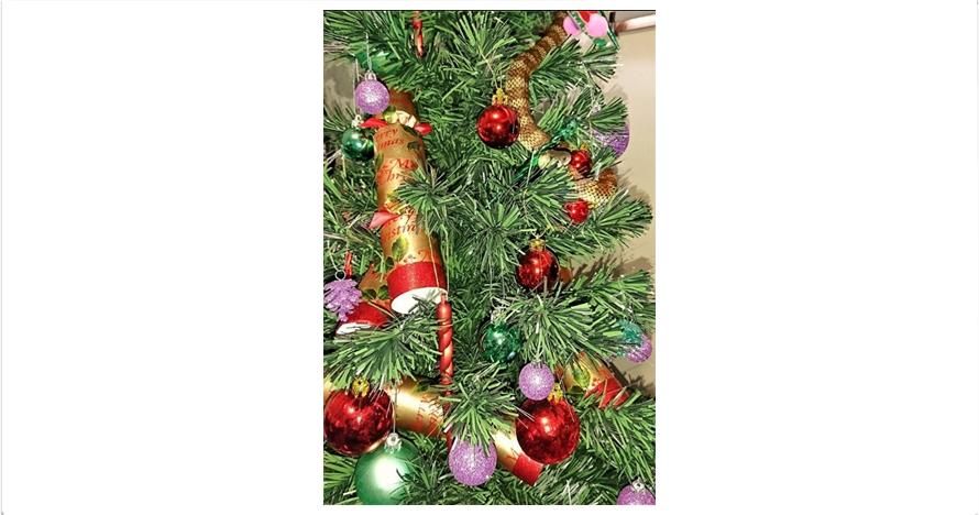 Seekor ular berbisa melilit di pohon Natal ini, kamu lihat nggak?