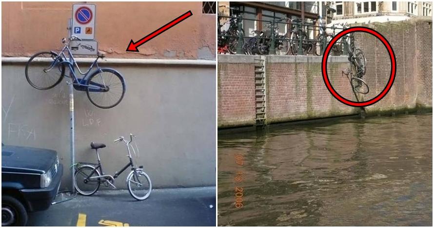 15 Foto kelakuan orang parkir sepeda sembarangan ini bikin tepuk jidat