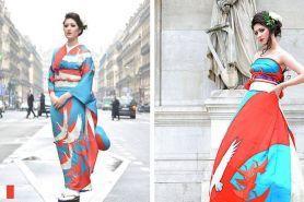 Cantik dan elegan, kimono diubah menjadi gaun pengantin modern
