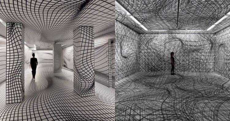 9 Grafis dinding hitam-putih ini memusingkan, tapi tetap keren