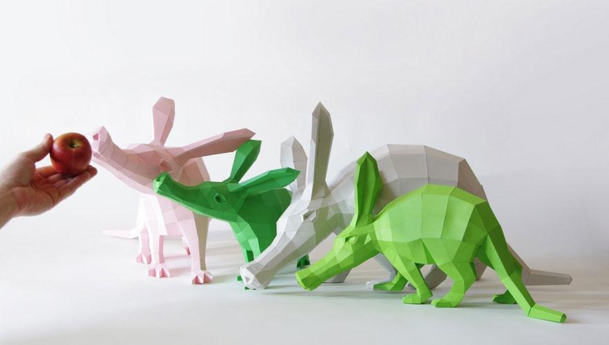 patung binatang dari kertas © 2016 thisiscolossal.com