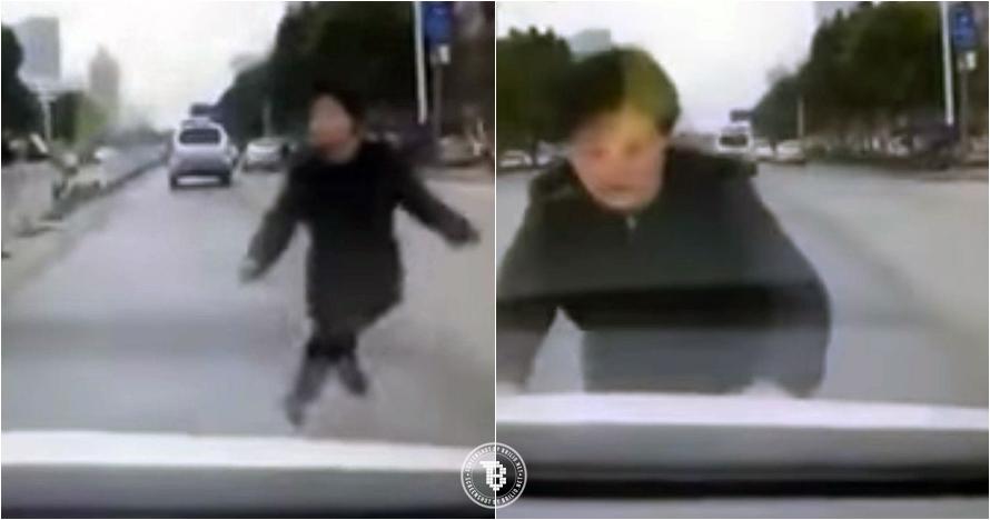Demi uang, perempuan ini rela tabrakkan dirinya ke mobil di jalanan