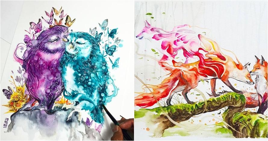15 Lukisan cat air buatan pria asal Malang ini bikin terpesona
